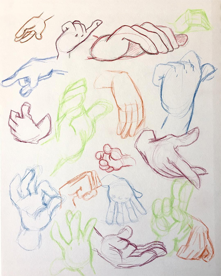 Bright colorful hand drawings