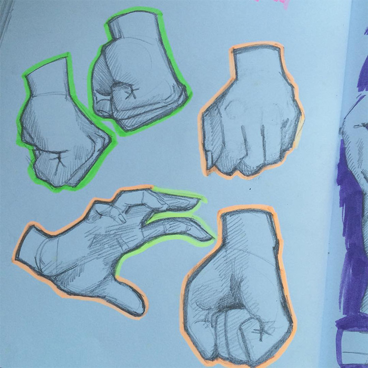 Hand studies with highlights