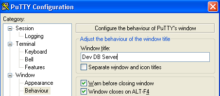 Fig: Custom Window Title for PuTTY SSH Session