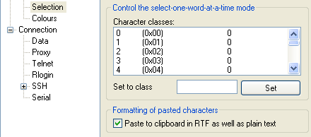 Fig: Enable Rich Text Paste to Clipboard in PuTTY